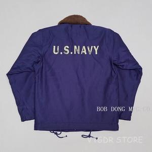 Image 3 - BOB DONG Repro 40s US Navy N 1 Deck Jacke Zurück Farbe Winter Military Uniform USN Mantel der Männer 44