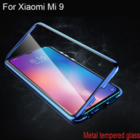 Luxury Magnetic Adsorption Case For Xiaomi Mi 9 Metal Frame Clear Tempered Glass Cover For Xiaomi Mi 9 Magnetic Flip Cases Mi9