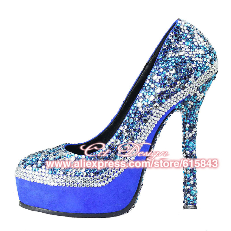 Something White Wedding Shoes Customized Sparkly Royal Blue High Heels Platform Party Evening Italian In Women S Pumps From On