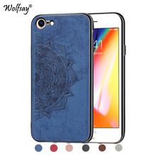 For iPhone 7 8 Shockproof Soft TPU Silicone Cloth Texture Hard Phone Case Back Cover Apple Fundas