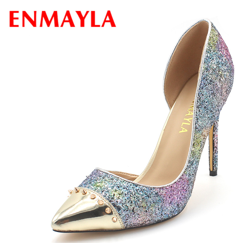 ENMAYLA High Heels Glitter Shoes Women Pointed Toe Rivets Pumps Sexy Blue Pink Bling Shoes Woman Party Wedding Ladies Shoes luxury shoes women sliver wedding shoes pumps pointed toe gold party extreme high heels bling silver evening ladies shoes 8 6005