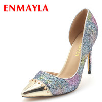 ENMAYLA High Heels Glitter Shoes Women Pointed Toe Rivets Pumps Sexy Blue Pink Bling Shoes Woman
