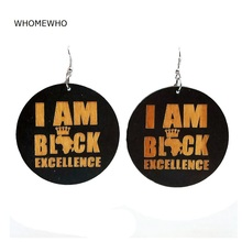 WHOMEWHo 60cm Africa Wood I AM BLACK EXCELLENCE Letters Crowned Earrings Vintage Party African Afro Jewelry Wooden DIY Club Gift