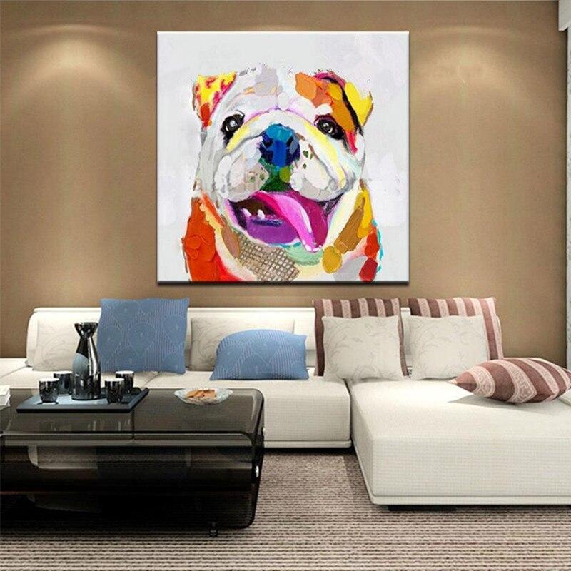 Dipinto a mano Cartone Animato Cane di Colore Della Parete Pittura Pitture A Olio su Tela Spatola Moderna Home Decor Art Grandi Immagini Degli Animali