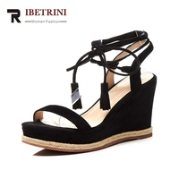 RIBETRINI Brand New Kid Suede Genuine Leather Cross Tied Women Shoes Solid Black Platform Party Summer Sandals Women