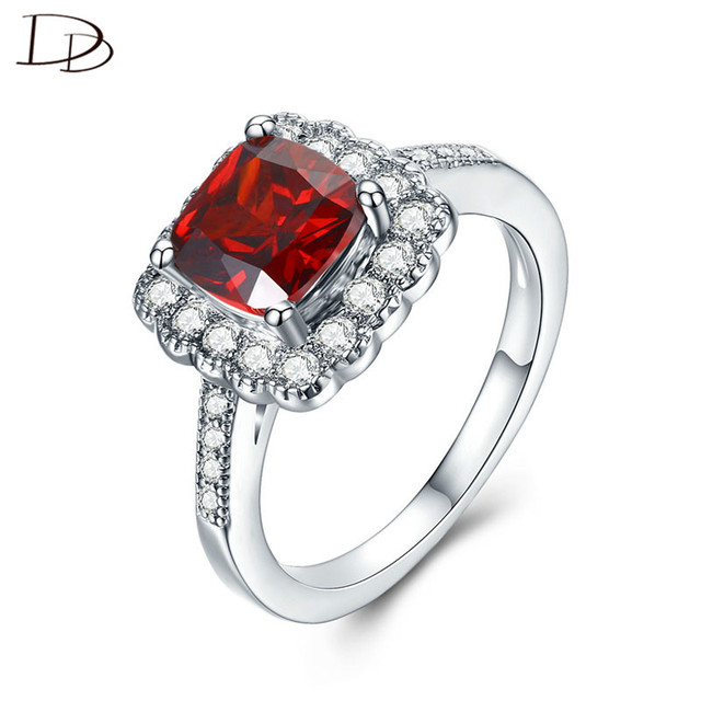 DODO AAA Zircon Jewelry Red Stone 925 Sterling Sliver Square Ring For Women Wedd