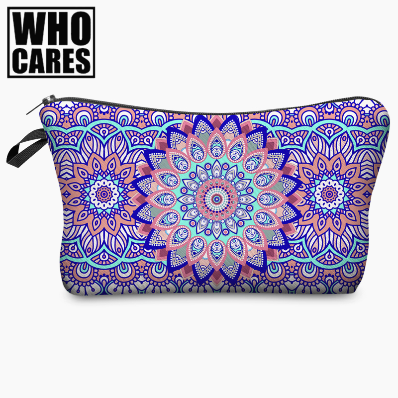 Mandala Flowers Round 3D Printing Cosmetic Bag 2017 Fashion Women Organizer Toiletry Bag with Zipper Mujer Neceser Maquillaje beauty roses black tropical flowers palms 3d print cosmetic bag women makeup organizer toiletry bag with zipper neceser trousse