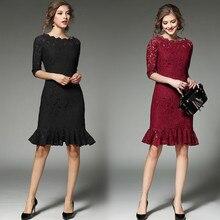 Распродажа, ограниченное предложение, однотонное платье длиной до колена, три четверти, офисное платье, большие размеры, облегающее платье, вечерние платья для девушек, рыбий хвост