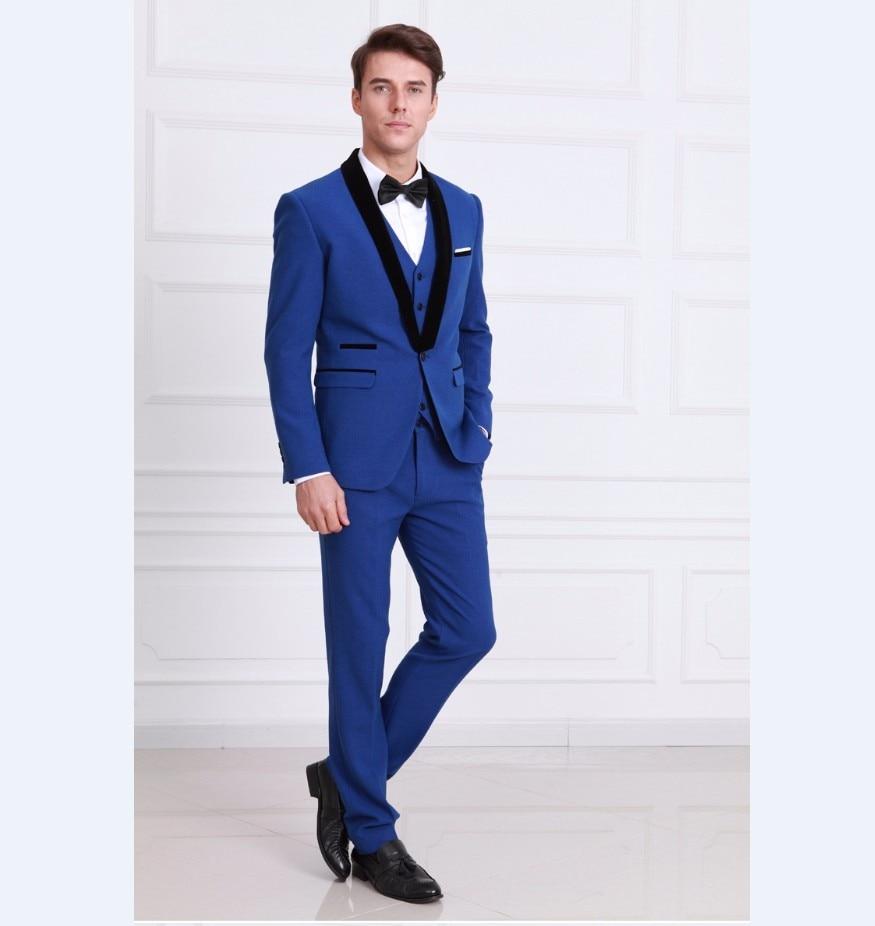 New Arrival Groomsmen Shawl Black Lapel Groom Tuxedos Royal Blue Men Suits Wedding Best Man Blazer (Jacket+Pants+Tie+Vest) B950