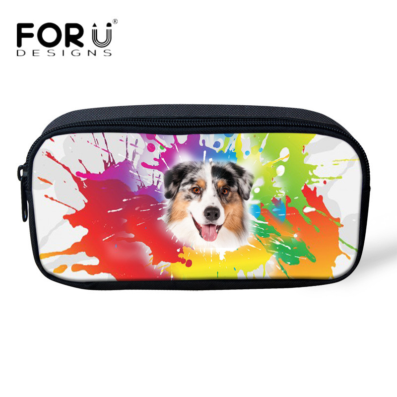 FORUDESIGNS Colorful 3D Husky Pug Dog Children Storage Bag School Office Supplies for Student Girls Travel Women Cosmetic Bags цена и фото