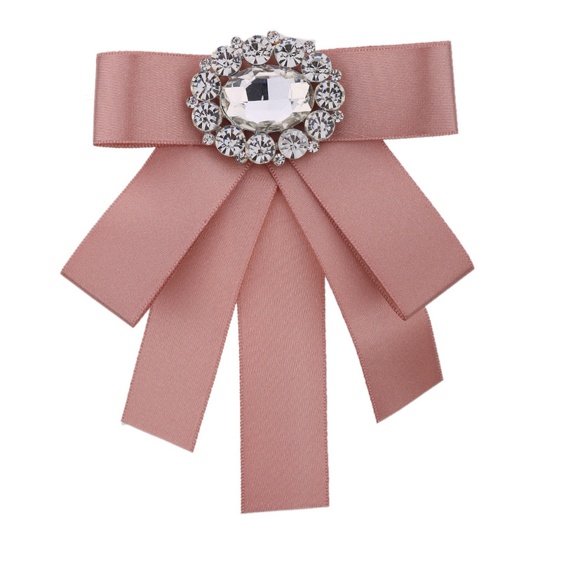 Ladies Oval Crystal Decorative Bow Tie Pin Plain Color Double Collar Front Desk Professional Shirt Small  Corsage Tie