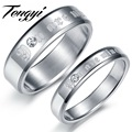 "New Design stainless steel couple rings with  shinning crystal drill mark ""you are mine"" best selling TY365"