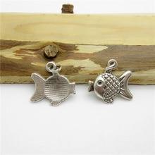 65PCS (18*16mm )Antique Silver Fish Charms pendant fit European bracelet made diy Pendants for jewelry making
