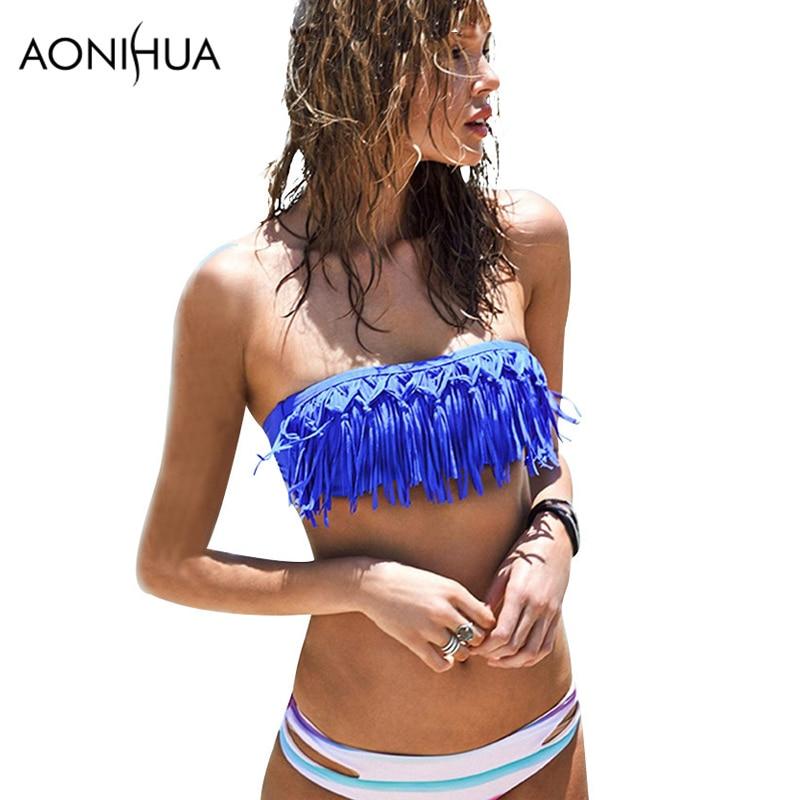AONIHUA ručně tassel bikiny sada pro ženy letní push-up plavky nízký pas plavky plavky brazilské Biquini 1627