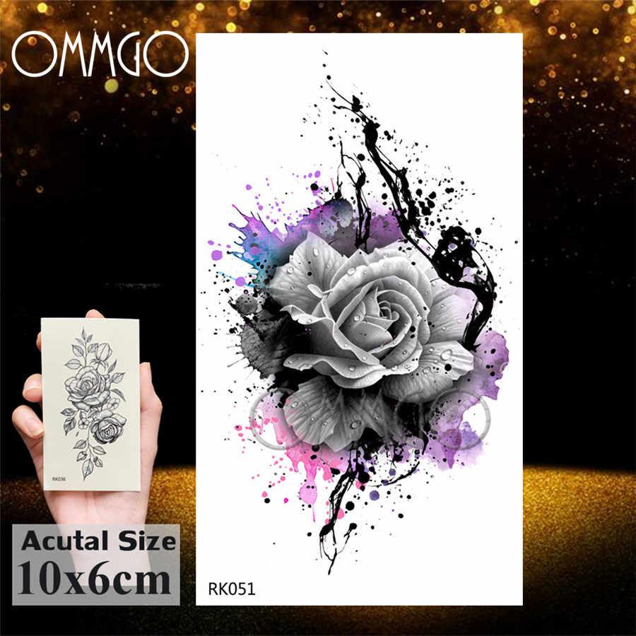 OMMGO Graffiti Fiore di Rosa Catene Tatuaggi Temporanei Adesivo Foglia Su Ordinazione Del Tatuaggio di Arte di Corpo del Braccio Sexy Flora Falso Gemma Tatuaggi Del Pendente