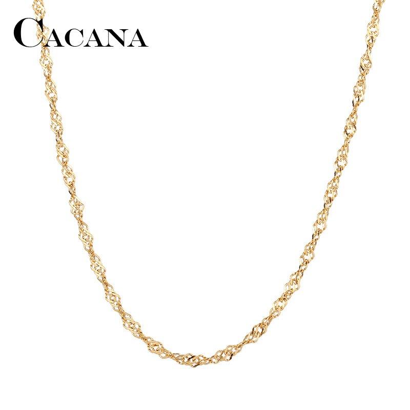 Мужская и женская цепь CACANA, ожерелье из нержавеющей стали золотого и серебряного цвета с волнистой подвеской, не выцветает, A1297