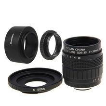 Fujian 35mm F1.7 CCTV lente Filme + C-EOS M Montagem + Lente capô + anel macro para canon eos m m2 m3 m5 m6 M10