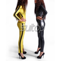 Suitop latex Yellow catsuit for women