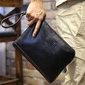 Nuevo 2015 hombres de Moda de ocio Cremallera Billetera de Cuero de LA PU de Alta calidad Bolsos de Negocios Masculino Del Bolso de Embrague negro de mano Pequeño bolsa