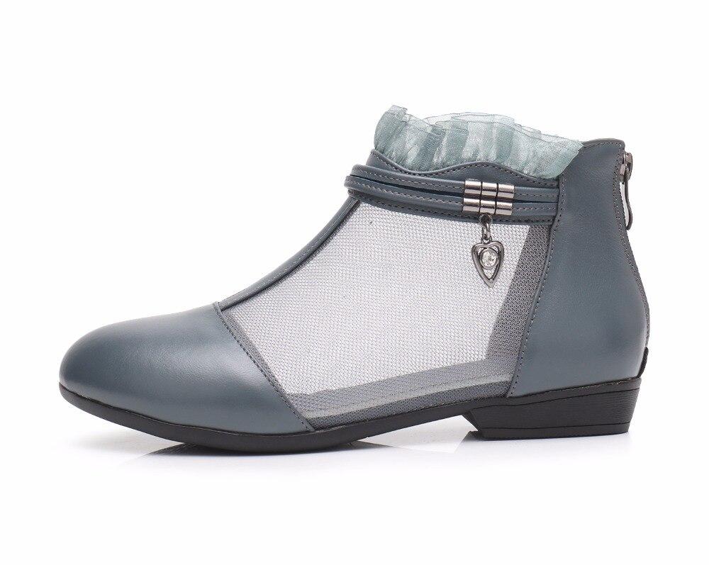 Gktinoo Noir Mode Automne Cheville Maille Talons Taille Chaussures gris blanc 43 Sandales Grande D'été Véritable Confort Bottes Femme Femmes Cuir 34 Plat En r6qCrwxRv