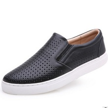 Men's brand new cut-outs Plus size(7-16) Genuine real leather Breathable Flats Designer Driving shoes Man Slip-on Loafers Black