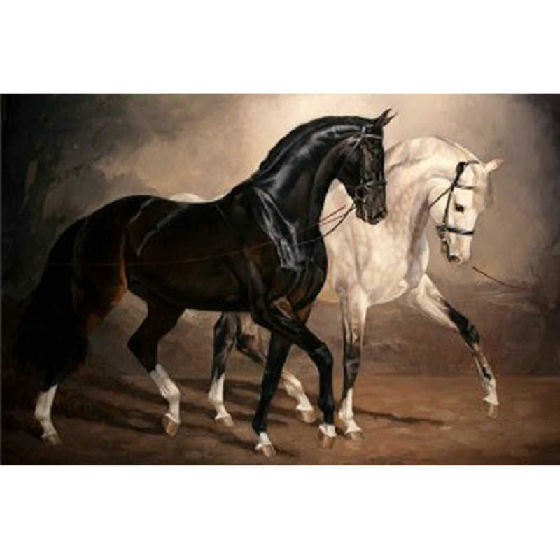 YIKEE diamond painting Black and white horse,5d full drill square diamond painting,dimond painting full square Y815 NEW TOOL