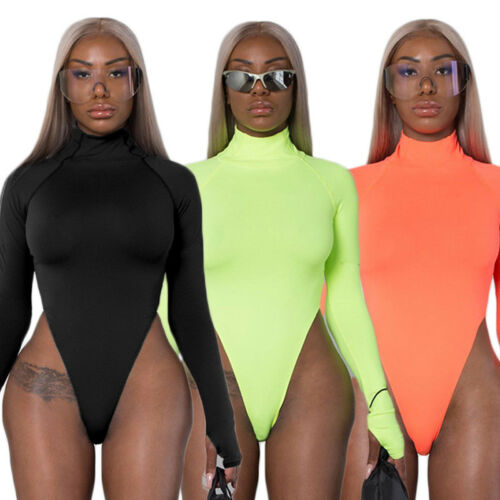 Women Playsuit Turtle Neck Long Sleeve Stretch Leotard Bodycon Bodysuit Top Blouse Romper 2020 NEW