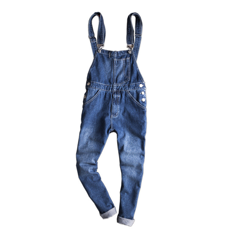 New Men's Slim Hole Ripped Ankle Length Jeans Male Casual Denim Bib Overalls Jumpsuits for Men male suspenders 2016 new casual denim overalls blue ripped jeans pockets men s bib jeans boyfriend jeans jumpsuits
