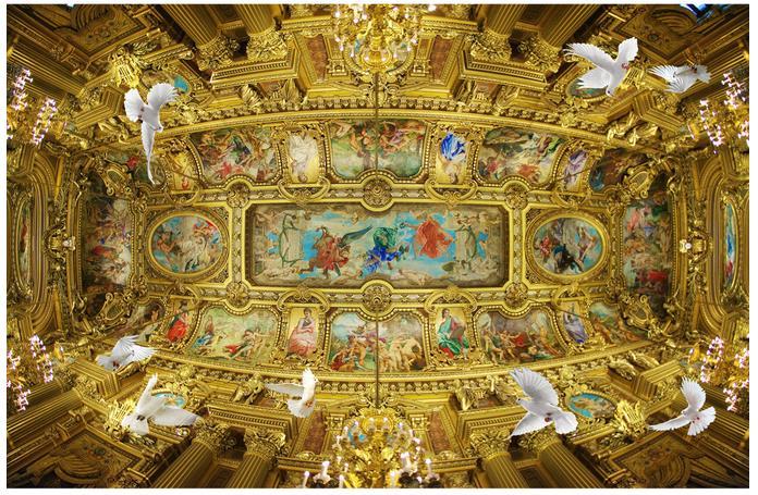 3d stereoscopic wallpaper european church ceiling frescoes for Church mural painting