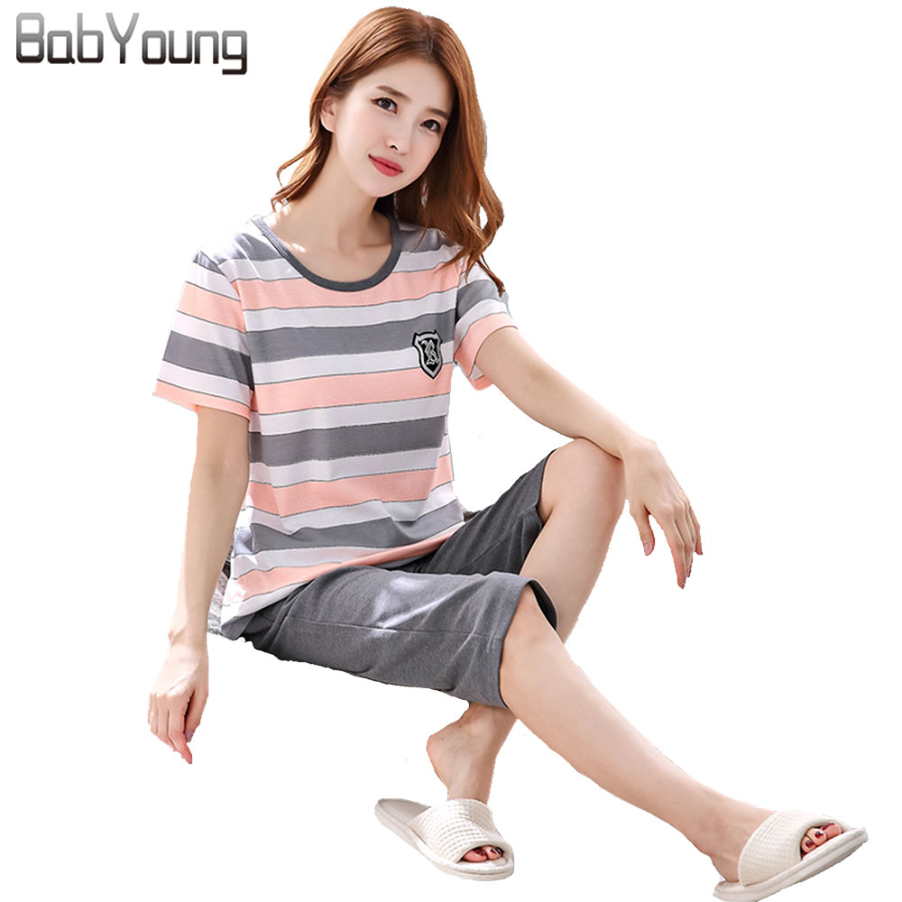 Babyoung Summer Pyjamas Femme Women   Pajamas     Set   Sexy Striped Pattern Cartoon Short Sleeve Tops Pijama Mujer Lingerie Sleepwear
