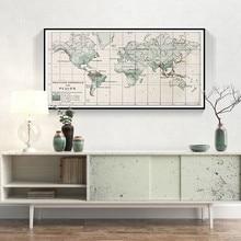 Impresión de mapa del mundo de Europa de la vendimia de la vida segura pinturas de la tipografía Poster pared imágenes artísticas sala de estar Oficina decoración del hogar