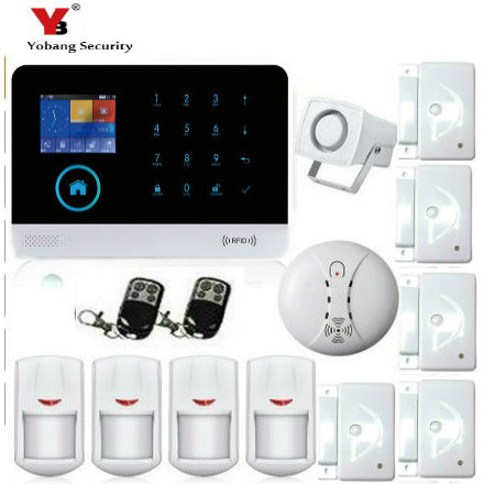 YobangSecurity Touch Keypad Wifi GSM GPRS Home Security Voice Burglar Alarm RFID Function Smoke Detector Door PIR Motion Sensor wireless smoke fire detector for wireless for touch keypad panel wifi gsm home security burglar voice alarm system