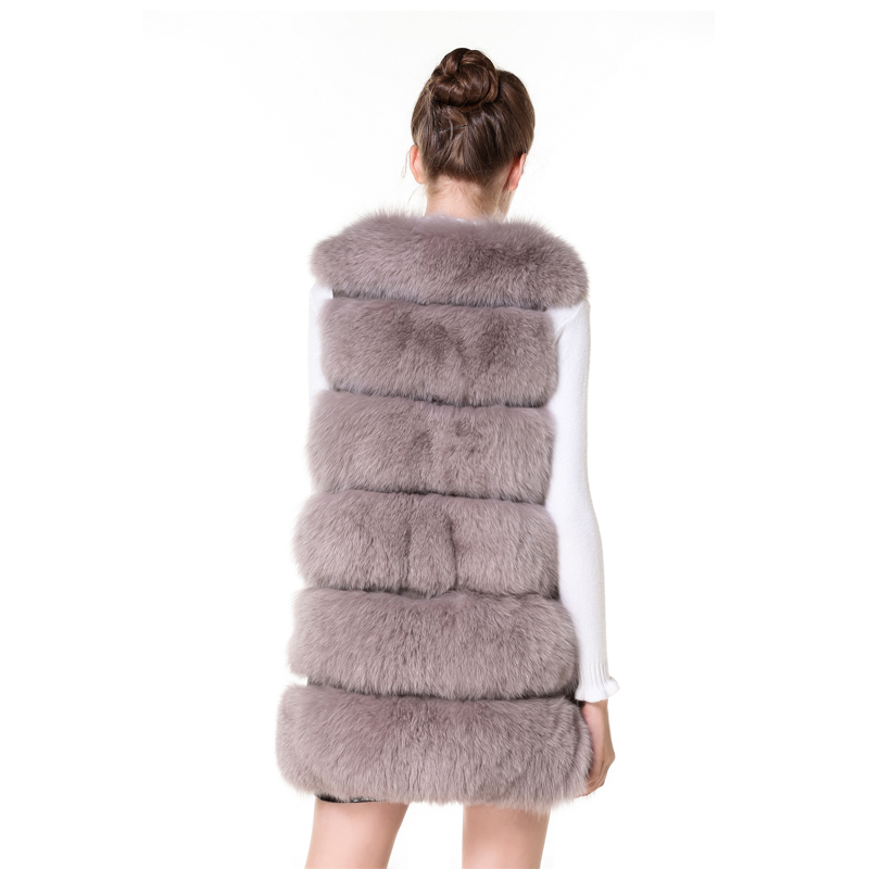 Real Fur Real Fur Vest Black Fur Vest With Side Zipper Genuine Leather 80cm New Design Fox Fur Gilet For Ladies In Winter Dhl Women's Clothing