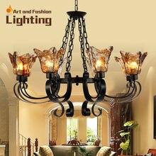 Mediterranean Amber Glass Iron Femininie Elegant Chandelier 8 Lights E14 Base Large European Living room Light Lobby CH060-8