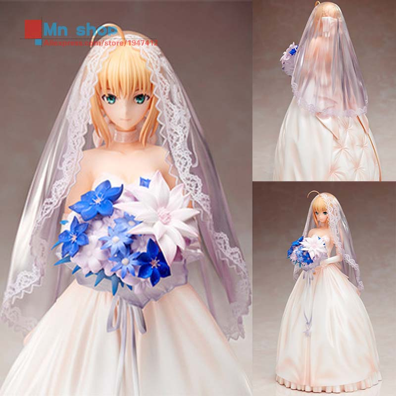 Hot Figure Toys Japan Anime Fate/Stay Night Saber Tenth Anniversary of the Royal Wedding Dress Model PVC Action Figure Gift  P45 hot figure toys 11 japanese anime fate stay night ubw saber pvc action figure toy gift collection p45