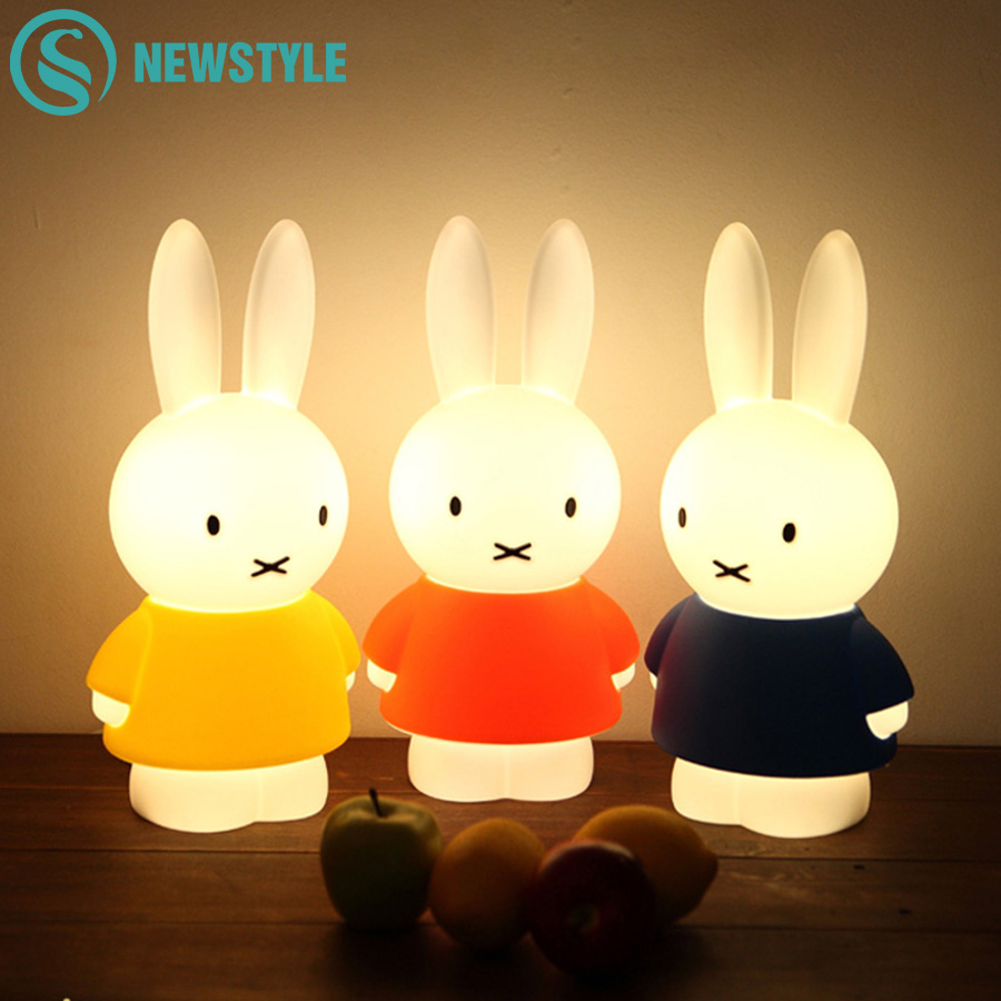 Newest 45cm Cartoon Rabbit LED Night Light  Home Decoration Children Baby Night Lamp  Bedroom Christmas Birthday Gifts ice hockey creative christmas birthday dream master cartoon children boy gift led wall lamp 3d stick bedroom night light party