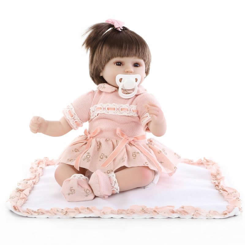 Dressed Pink Skirt 17'' Reborn Baby Girl Dolls Safe Silicone Model Doll Reborn Boneca Toys Birthday Xmas Gifts As Kids Playmates new arrival 55cm blue eyes pink clothes lifelike baby soft girl doll with free plush toy as kids xmas gifts birthday doll toys