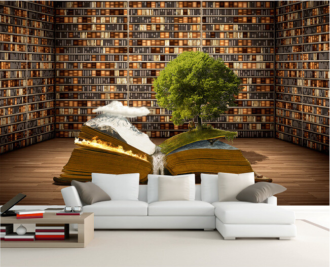 Custom 3 d wallpaper, coloring book mural for sitting room bedroom study background wall waterproof wallpaper  papel de parede coloring of trees