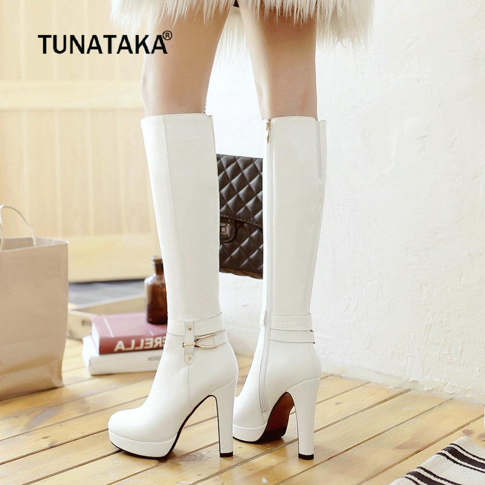 Women Fashion Zipper Boots Pu Knee High Boots Platform Square High Heels Round Toe Autumn Winter Woman Shoes Plus Size 2018