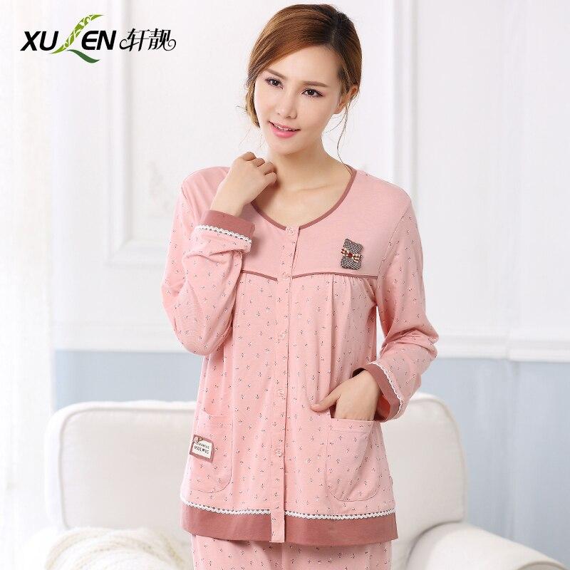 2016 spring and autumn 100% cotton long-sleeve cardigan sleepwear female big o-neck womens 100% cotton lounge sleep set