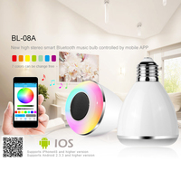 New Wireless Bluetooth E27 LED Audio Speaker Bulb Remote Control Smart Colorful Music Playing Lighting With