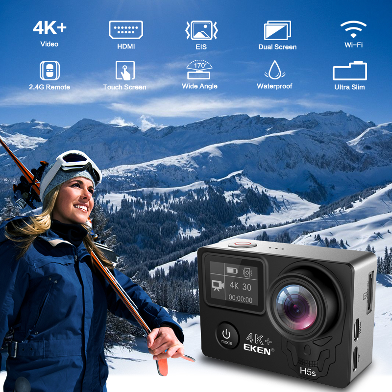 Image 2 - EKEN H5S Plus Action Camera HD 4K 30fps EIS with Ambarella A12 chip inside 30m waterproof 2.0 touch Screen  sport camera-in Sports & Action Video Camera from Consumer Electronics