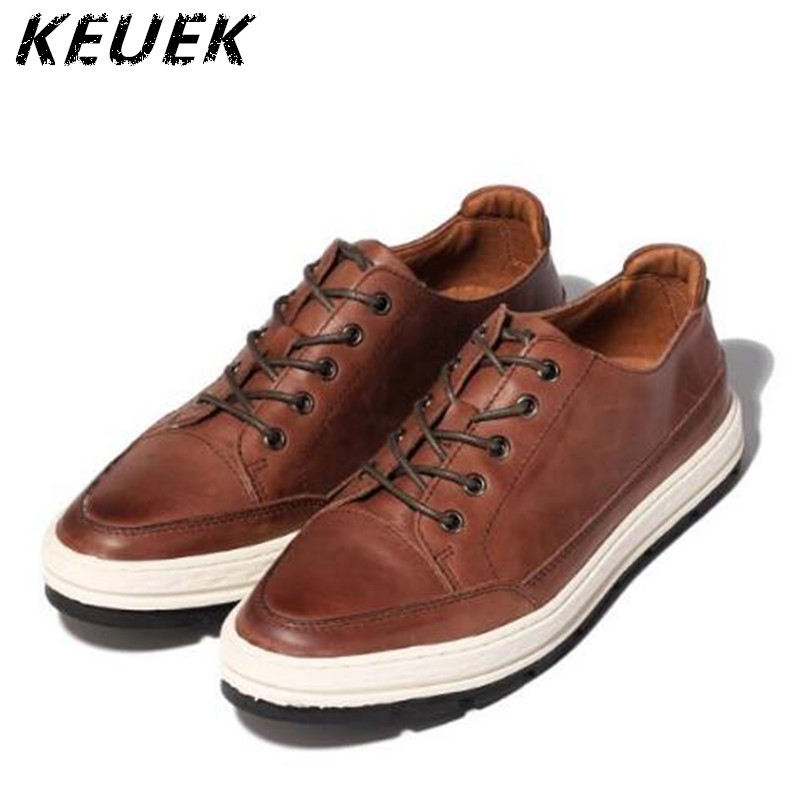 ФОТО Spring Men Genuine leather Casual shoes Fashion Breathable Lace-Up Flats Retro chaussure homme Driving shoes 022