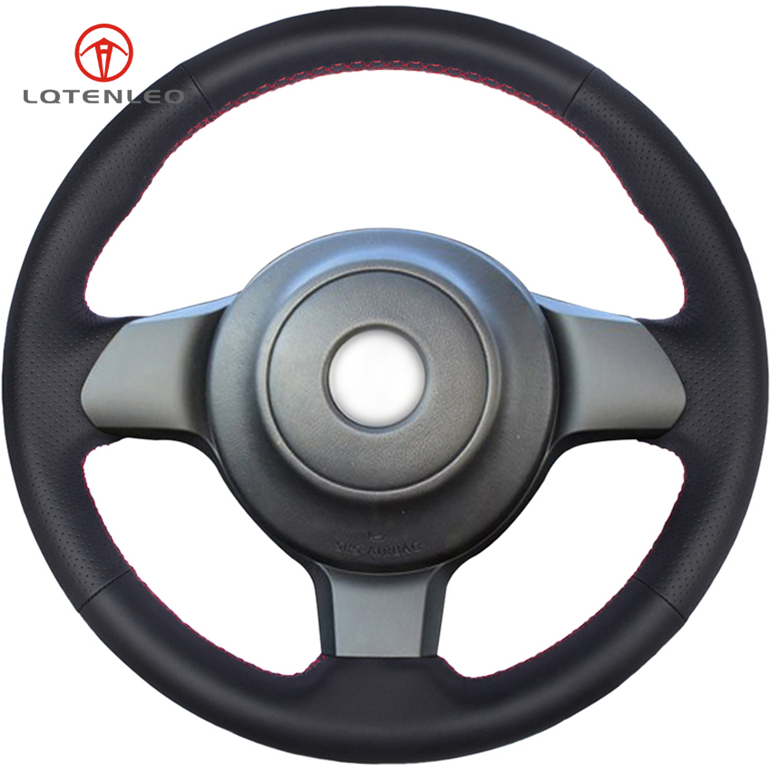 LQTENLEO Black Genuine Leather DIY Hand stitched Car Steering Wheel Cover for Toyota 86 2016 2017