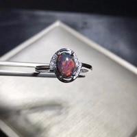 Uloveido Black Fire Opal Rings, 925 Sterling Silver, 6*8mm Certified Oval Shape Gemstone Anniversary Party Ring for Women FJ206