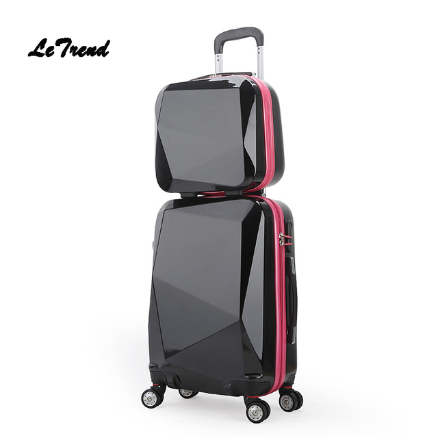 Letrend Trolley Rolling Luggage Set Spinner Women Travel Bag Suitcase Wheels 20 Inch Student Carry On