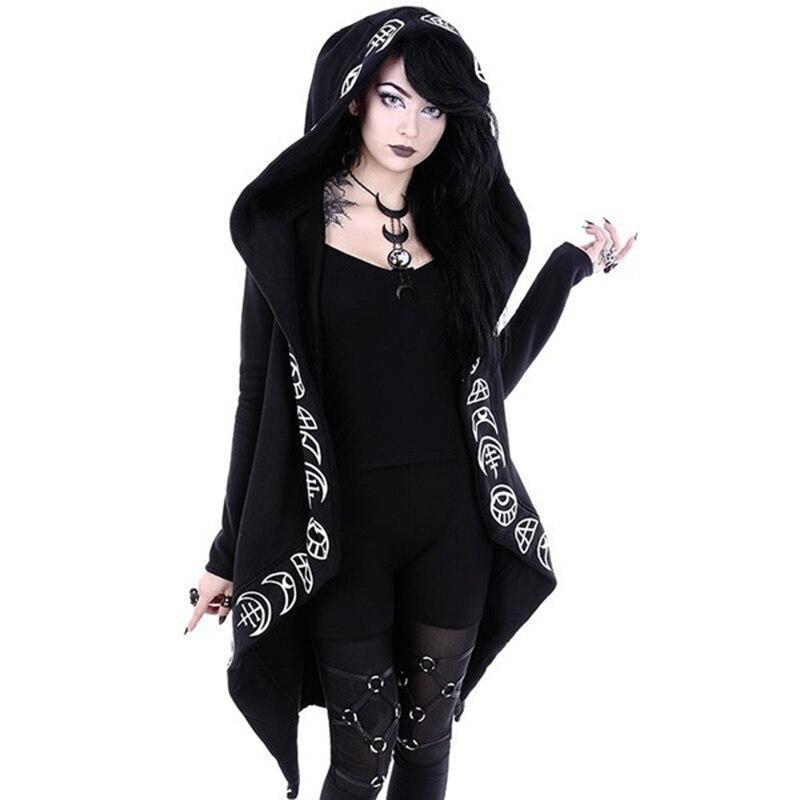 Otoño de 2018 gótico Casual Cool Chic negro Plus tamaño mujeres sudaderas de algodón con capucha simple imprimir mujer Punk sudaderas con capucha