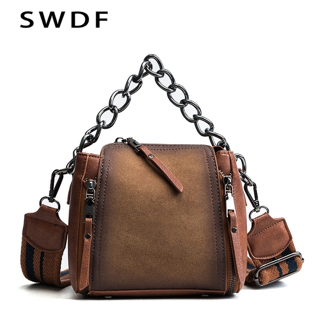 SWDF Women Winter New Retro Frosted Leather Bucket with Chain Scrub Shoulder  BagsHandbags Quality Bolsa Messenger Bag Ladies 5617a0f9f4e13