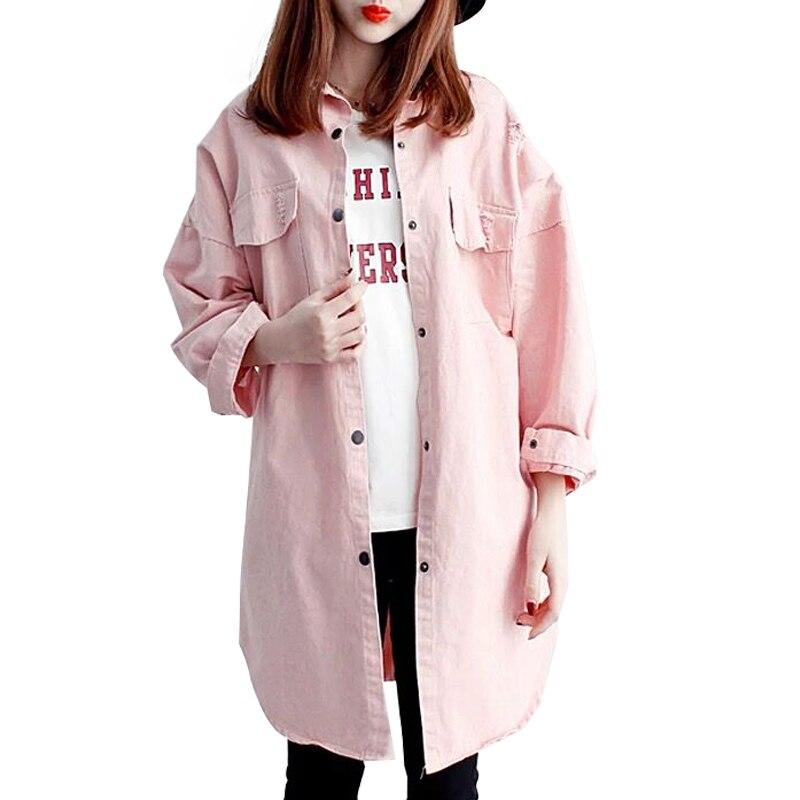 US $18.24 24% OFF|Womens 2019 Nieuwe Roze Groen Lange Herfst Jas Vrouwen Oversized Jeans Jas Vrouwelijke Denim Jasje hot Y491 in Eenvoudige Jassen van