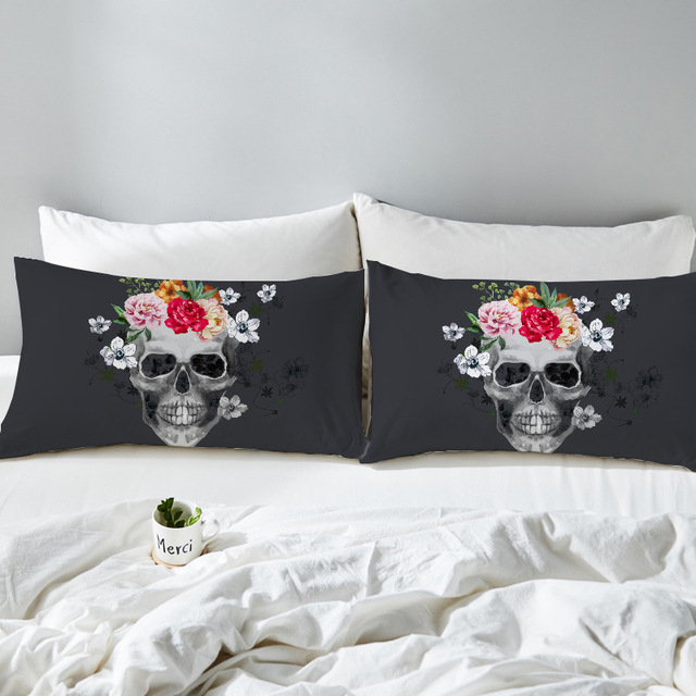 Cilected 2pcs Skull Flowers Pillow Cases Nightmare Before Christmas
